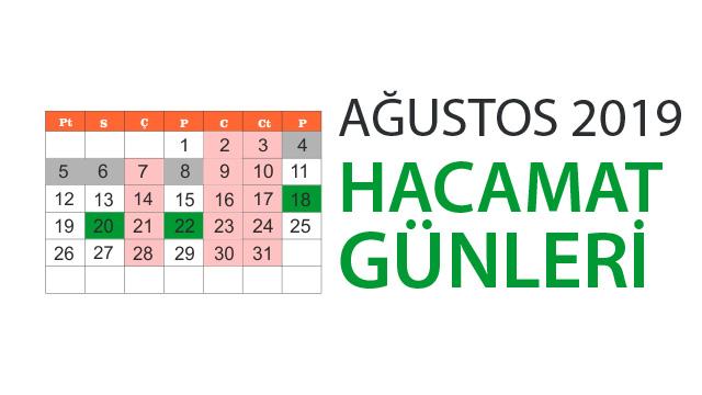 Ağustos 2019 hacamat günleri takvimi